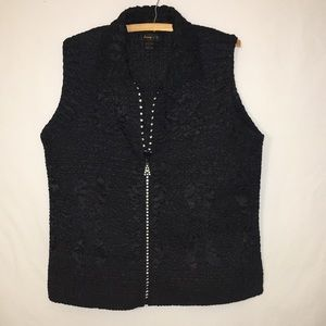 Jeweled Zipper Puffer Style Vest  L Jerry T